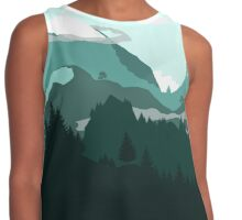 Flat Landscape With Mountains And Trees Contrast Tank