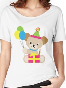 Brown Puppy Birthday Women's Relaxed Fit T-Shirt