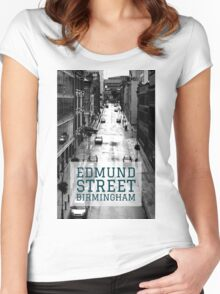 Black and White photograph of Edmund Street Birmingham City Centre Great Britain Women's Fitted Scoop T-Shirt