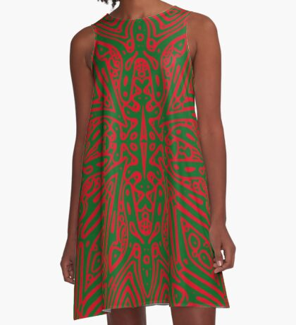 Red and Green Vector A-Line Dress