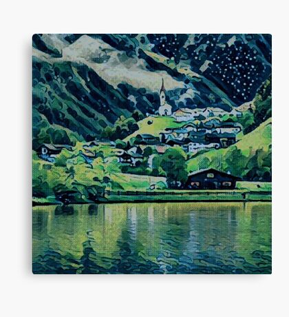 Small Village Painting Canvas Print
