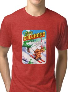 Colorado Ski CO United States of ALF Travel Decal Tri-blend T-Shirt