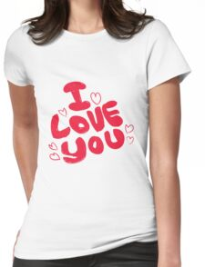 I Love You Pattern Womens Fitted T-Shirt