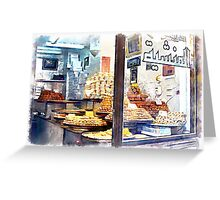 Showcase of Aleppo pastry shop Greeting Card