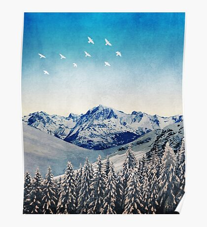 Snowy Mountain Scene - Version 1. Poster