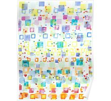 Light Squares with Drops Pattern  Poster