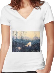 Sunset on Skipwith Common Women's Fitted V-Neck T-Shirt