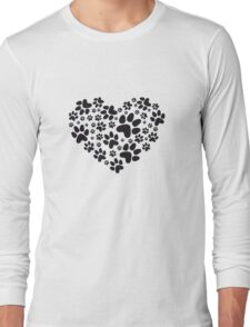 heart with black paw prints, animal footprint pattern Long Sleeve T-Shirt