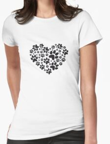 heart with black paw prints, animal footprint pattern Womens Fitted T-Shirt