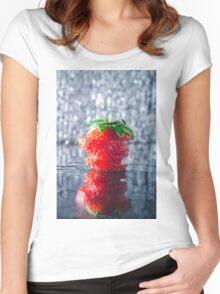 Sliced strawberry Women's Fitted Scoop T-Shirt
