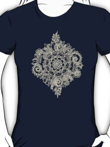 Cream Floral Moroccan Pattern on Deep Indigo Ink T-Shirt