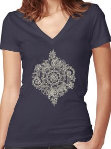 Cream Floral Moroccan Pattern on Deep Indigo Ink Women's Fitted V-Neck T-Shirt