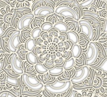 Cream Floral Moroccan Pattern on Deep Indigo Ink Sticker