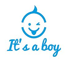it's a boy design with cute face icon  Photographic Print