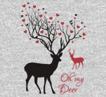 Oh my deer, stag with red hearts, design for Valentine's day, Christmas Kids Clothes
