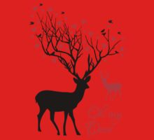Oh my deer, stag with red hearts, design for Valentine's day, Christmas Kids Tee