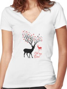 Oh my deer, stag with red hearts, design for Valentine's day, Christmas Women's Fitted V-Neck T-Shirt