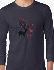 Oh my deer, stag with red hearts, design for Valentine's day, Christmas Long Sleeve T-Shirt