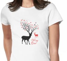 Oh my deer, stag with red hearts, design for Valentine's day, Christmas Womens Fitted T-Shirt