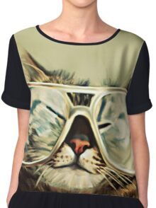 Cute Cat With Glasses Chiffon Top