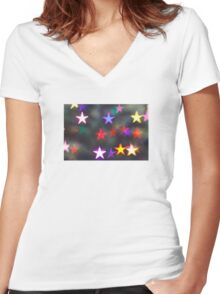 Starry Lights - Lomography Daguerreotype Achromat Photograph Women's Fitted V-Neck T-Shirt