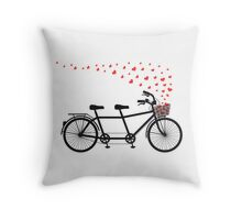 tandem bicycle and flying red hearts for Valentine's day, wedding invitation Throw Pillow