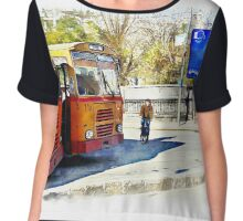 Buses and child riding a bicycle in Aleppo Chiffon Top