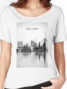 Charleston Black and White Skyline Women's Relaxed Fit T-Shirt