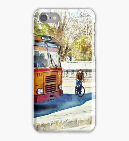 Buses and child riding a bicycle in Aleppo iPhone Case/Skin