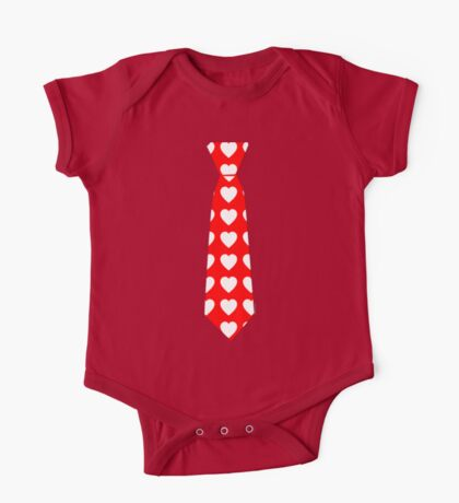 Valentine Tie Red with Hearts One Piece - Short Sleeve