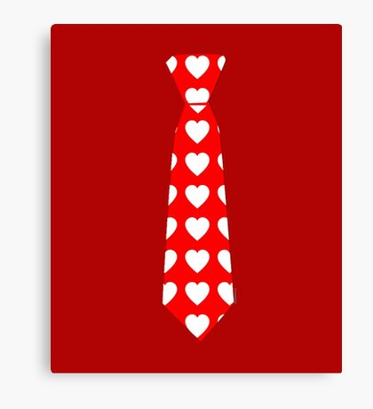 Valentine Tie Red with Hearts Canvas Print