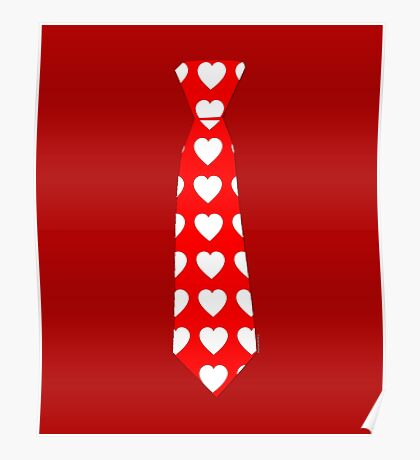 Valentine Tie Red with Hearts Poster