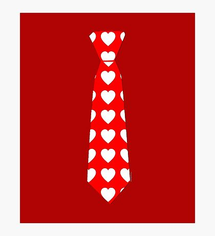 Valentine Tie Red with Hearts Photographic Print