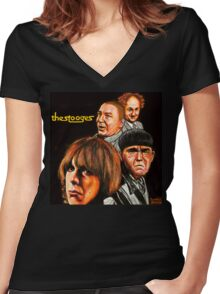 The Stooges  Women's Fitted V-Neck T-Shirt
