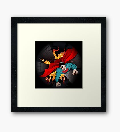 Superhero flying  Framed Print