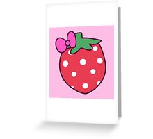 Pink Bow Strawberry Greeting Card