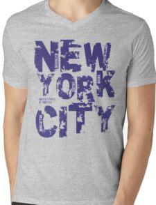New York City Text Typography States America Mens V-Neck T-Shirt