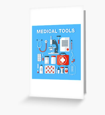 Medical Tools Icons Set. Health Care Stuff Greeting Card