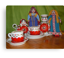 Russian Doll Tea Time Canvas Print