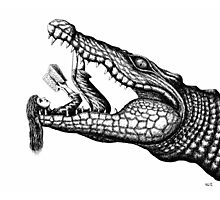Crocodile Reading surreal pen ink black and white drawing Photographic Print