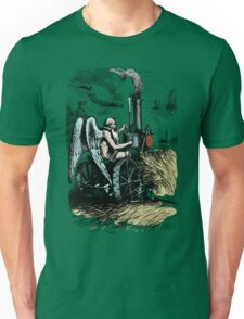 Vintage Hipster People Design - Old Angel Mowing Lawn Unisex T-Shirt