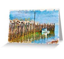 Margaretsville Wharf - watercolour Greeting Card