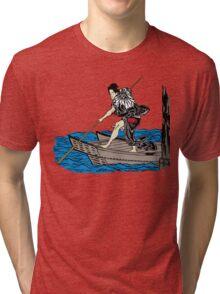 Vintage Asian Boatman - Cool Retro Hipster Design Tri-blend T-Shirt