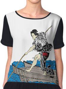 Vintage Asian Boatman - Cool Retro Hipster Design Chiffon Top