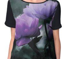 Lovely Purple & Blue Flowers Chiffon Top
