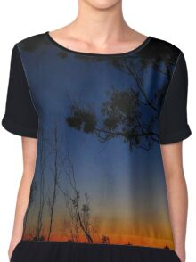 Trees in Orange and Blue Sunset Chiffon Top