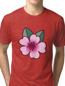 Cherry Blossom with Two Leaves Tri-blend T-Shirt