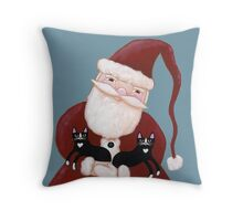 Santa and His Helpers Throw Pillow