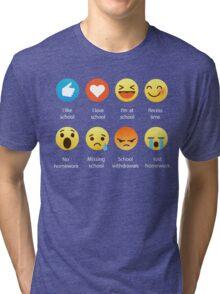 I Love School Emoji Emoticon Graphic Tee Funny Teacher Student Shirt Tri-blend T-Shirt
