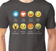 I Love School Emoji Emoticon Graphic Tee Funny Teacher Student Shirt Unisex T-Shirt